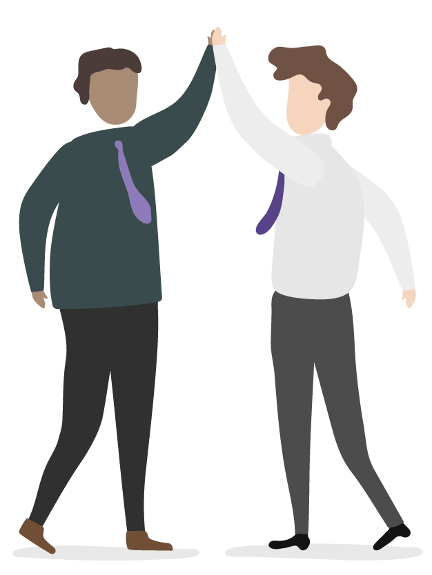 Two men high-fiving illustration for Focus Business Partners Accountants & Advisors